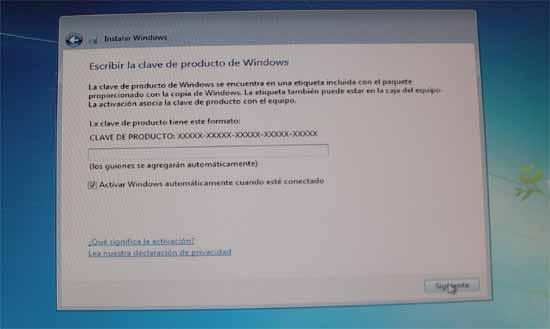 Windows 7, instalción clave del producto