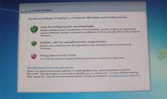 instalación windows 7, configurar actualizaciones