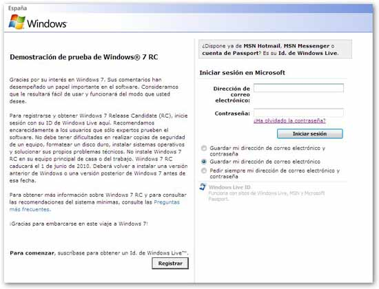 Descarga windows 7- Registro windos live ID