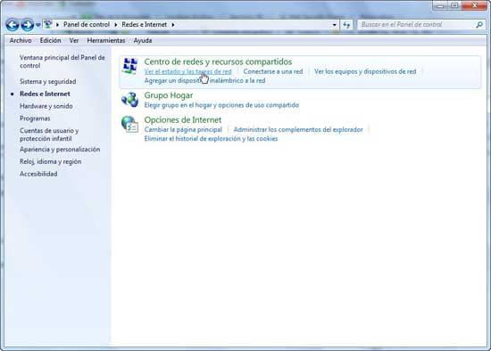 Windows 7 Estado y tareas de Red