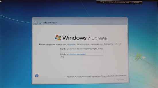 windows 7, instalación, nombre de usuario