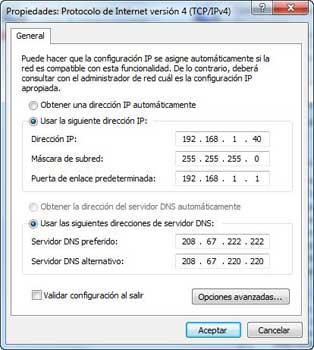Windows 7 Protocolo actual TCP/IP