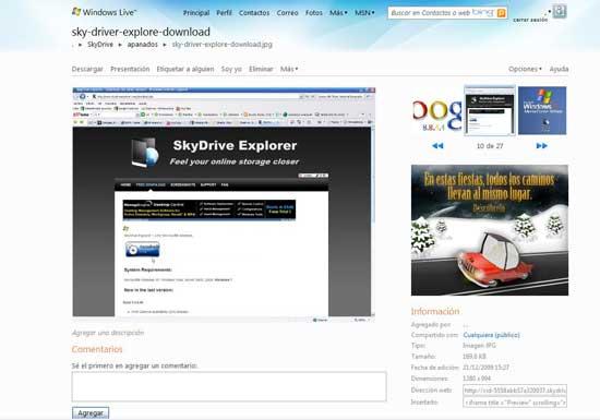 SkyDrive presentación de imágenes