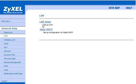 Zyxel, configuración LAN
