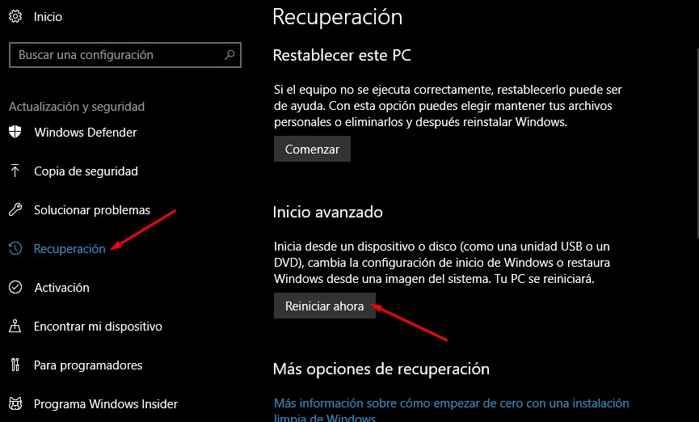 reiniciar Windows 10 desde la aplicación de Configuración
