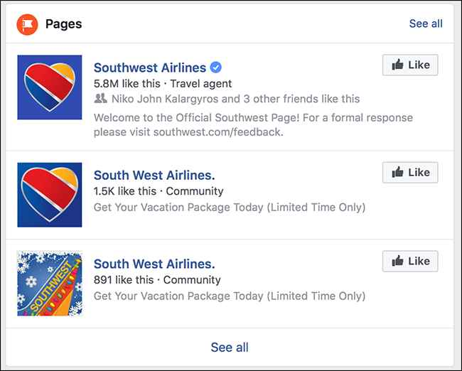 Facebook Southwest Airlines, buena y falsas páginas