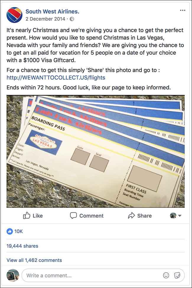 Facebook Southwest Airlines, contenido de la falsa