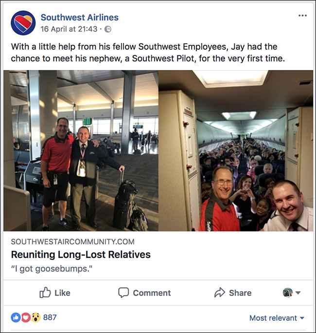 Facebook Southwest Airlines, contenido