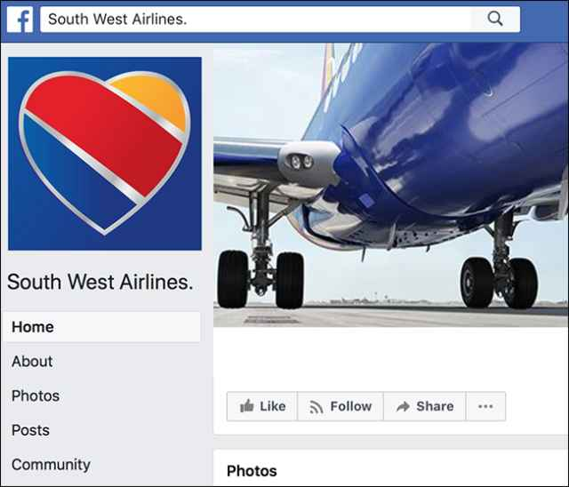 Facebook Southwest Airlines falsa