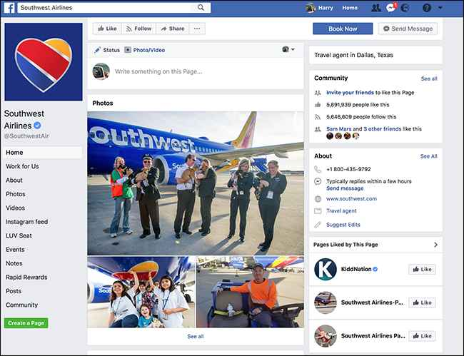 Facebook Southwest Airlines