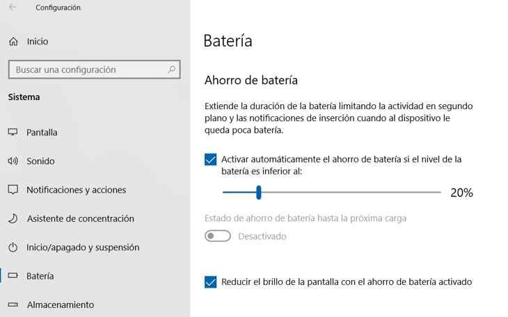 ahorro de la batería en Windows 10