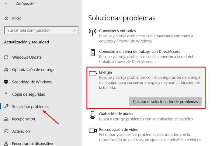 solucionar problemas de energía en Windows 10