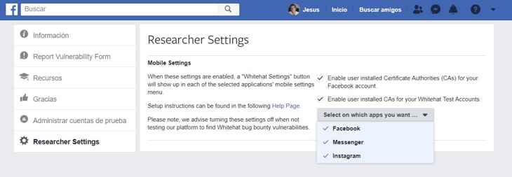 Facebook Researcher Settings