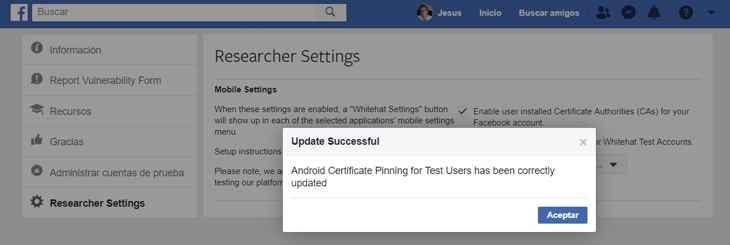 Facebook habilitar Certificate Pinning