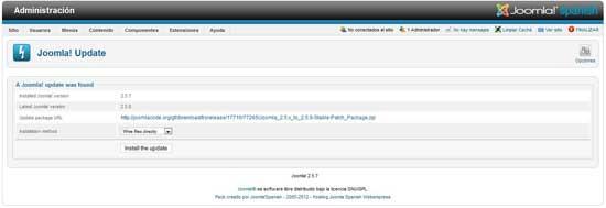 actualizar a Joomla 2.5.8 elegir método de subida