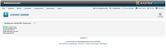 actualizar a Joomla 2.5.8 subida en proceso