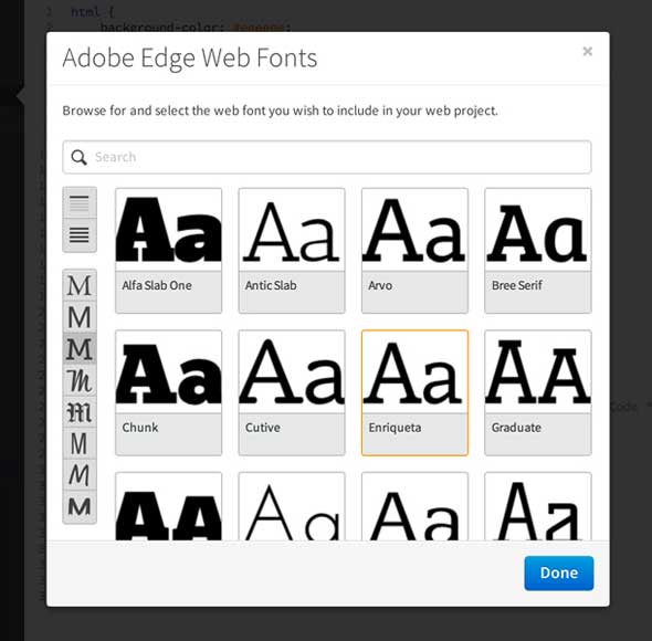 Adobe Edge web fonts, Edge Code - vista previa