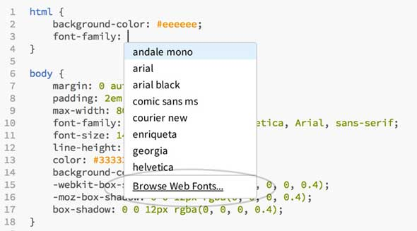 Adobe edge web fonts, Edge code