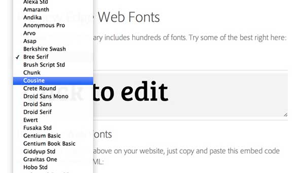 Adobe Edge web fonts, lista de fuentes