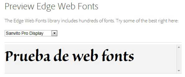 Adobe Edge web fonts, prueba de vista previa