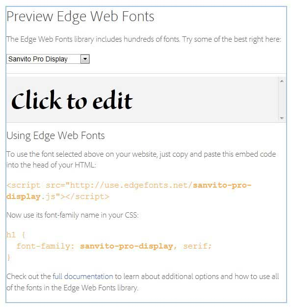 Adobe Edge web fonts, vista previa