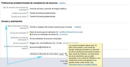 añadir nuevos usuarios a la cuenta de Google Adsense