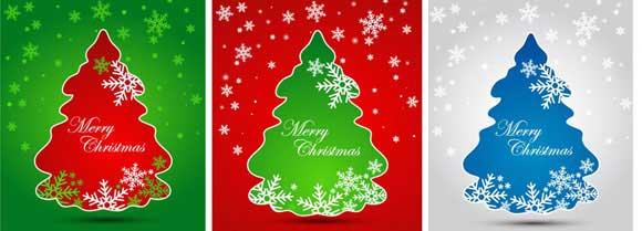 árbol de Navidad con fondo vectorial de copos de nieve