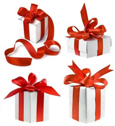 cajas de regalo de Navidad con cinta roja