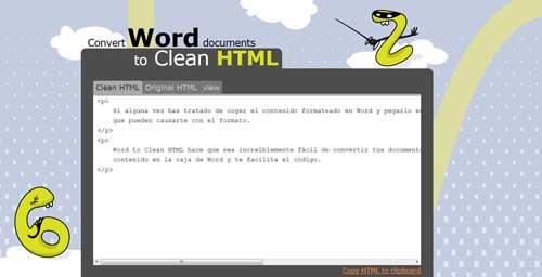 resultado de convertir formato de Word en HTML