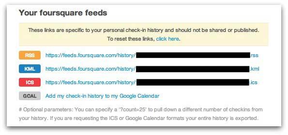 Foursquare feeds