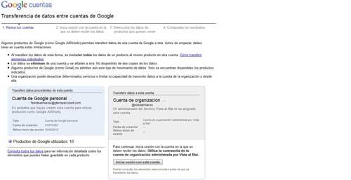 Google cuentas, transferir entre cuentas