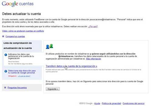 Google cuentas, transferir