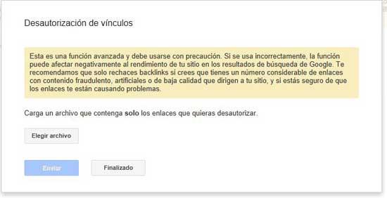 herramienta de Google 'Desautorización de vínculos', cargar archivo