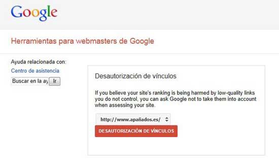herramienta de Google 'Desautorización de vínculos'