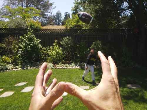Google gafas, jugando al rugbi