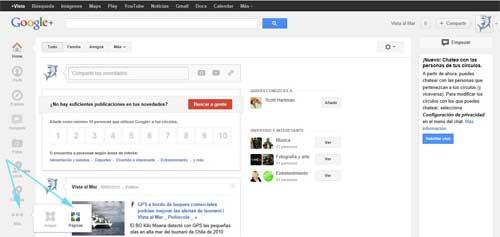 google plus, crear pagina
