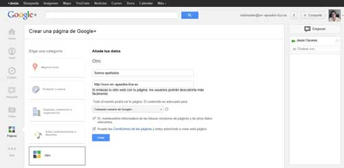 google plus crear página