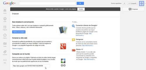google plus, URL del enlace de la página de perfil