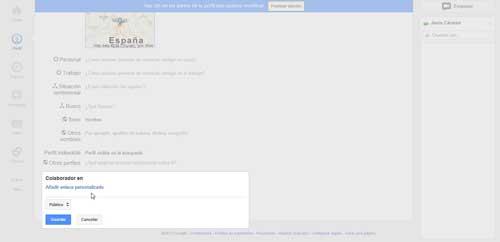 google plus, perfil - añadir enlace colaborador