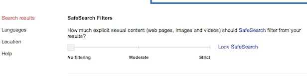 Google SafeSearch opciones otro país