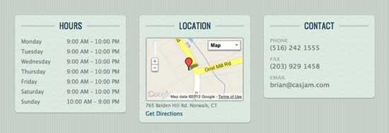 información, localización  y horarios