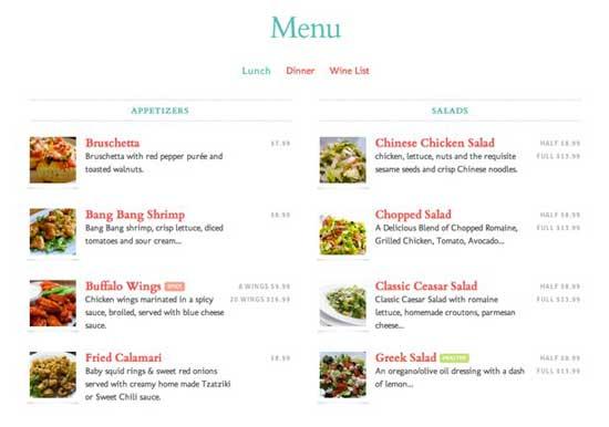 menú de platos integrado en el sitio web