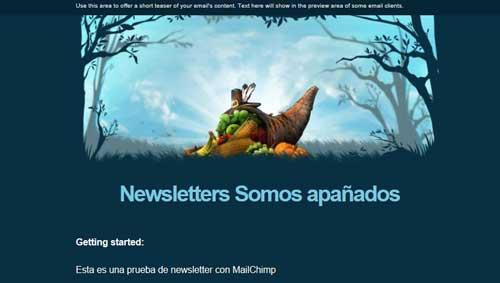 newsletter MailChimp Somos apañados