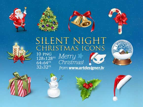 noche silenciosa de Navidad iconos