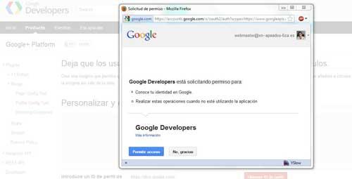 obtener el ID de Google +, acceso