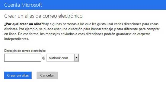 Outlook.com escribir alias