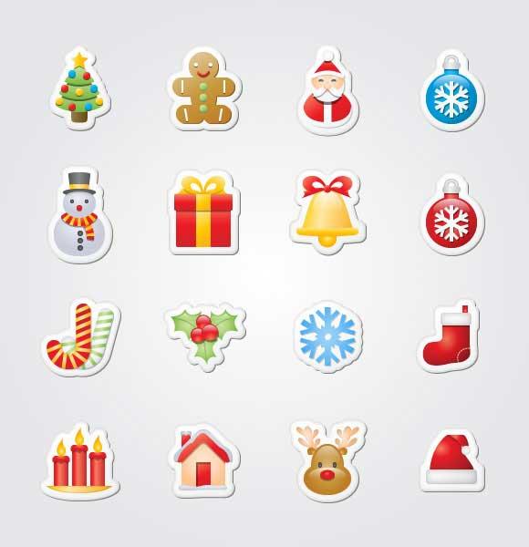 pegatinas iconos de Navidad