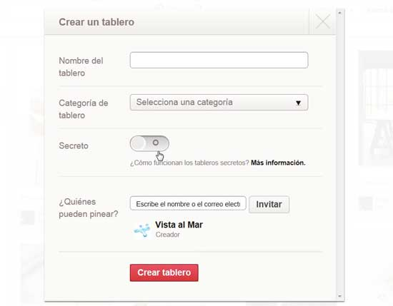 Pinterest crear tablero secreto