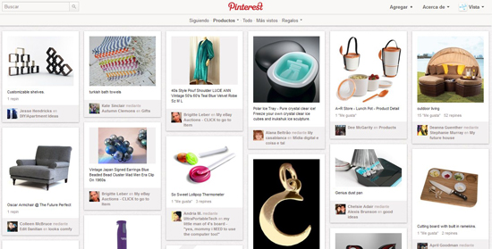 Pinterest, categoría productos