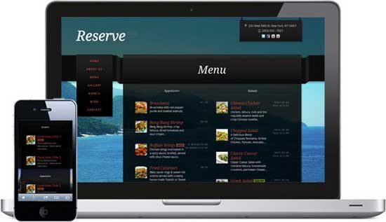 sitio web de restaurante optimizado para móvil